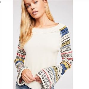 Free People Fairground Thermal Top IntarsiaPattern